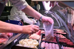 Meat in compostable Molloys Butchers